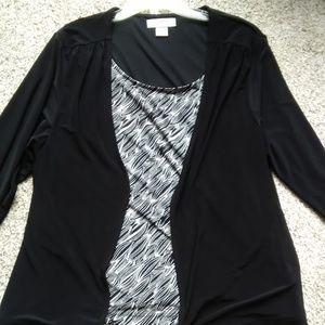 SagHarbor 3/4 sleeve 2-Fer Twinset-1X -Black/white